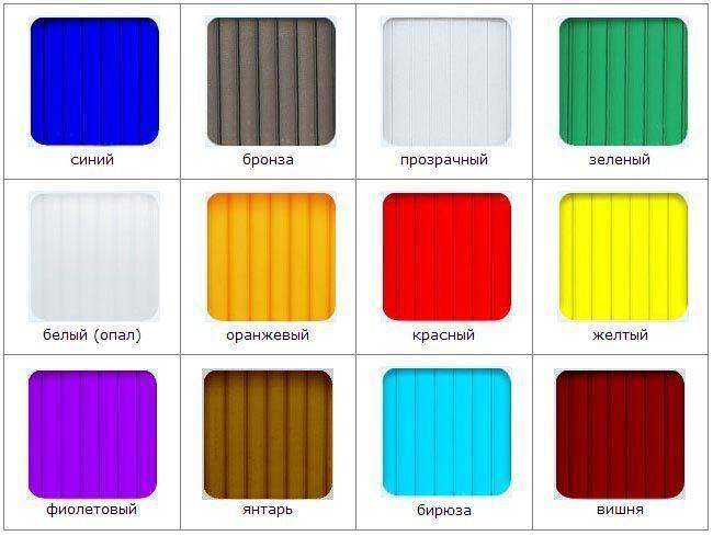 Цветовая палитра сотового поликарбоната